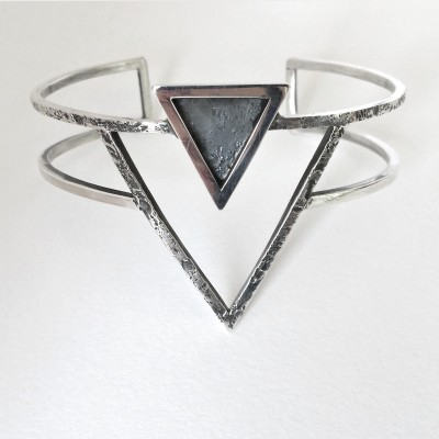RAW collection cuff triangle geometric silversmith Eindhoven