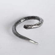 Minimal handmade silver ring with a RAW oxidized finish